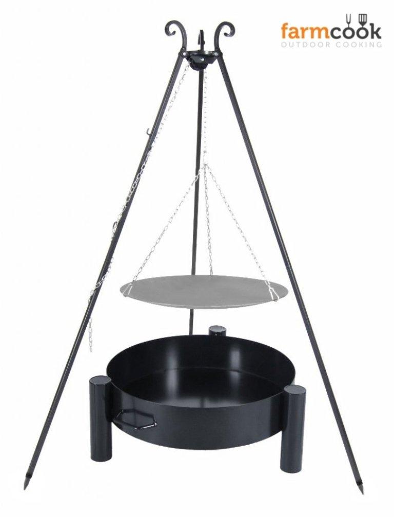 Dreibein Grill VIKING Höhe 180cm + Lagerfeuerpfanne aus Stahl Durchmesser 56cm + Feuerschale Pan33 Durchmesser 60cm online bestellen
