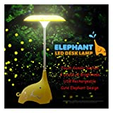 Rechargeable Children Night Light,KEEDA® Cute Elephant LED Desk Lamp Table Lamps,Touch Sensor Control Bedroom Lamps, 3 Levels of Dimmable Brightness Book Light, Baby Lamp Baby Nightlight(Yellow)