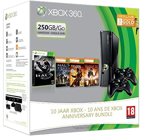 Console Xbox 360 250 Go + 2 Manettes sans fil noire pour Xbox 360 + Halo combat evolved Anniversary + Halo Reach + Fable III + Gears of War 2 + Carte Xbox Live Gold 3 mois