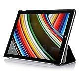 Microsoft Surface 3 Tablet ケース 【KuGi】 マイクロソフト サーフェス 3 タブレット ケース スタンド カバー 高品質PU レザー Microsoft Surface 3 専用 カバー (Microsoft Surface 3, ブラック)
