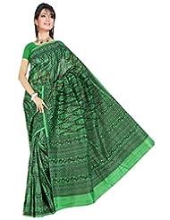 Somya Women's Bhagalpuri Silk Printed Green Saree