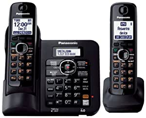 Panasonic KX TG6642B DECT 6.0 Cordless Phone with Anwering System, 2 Handset (Black)