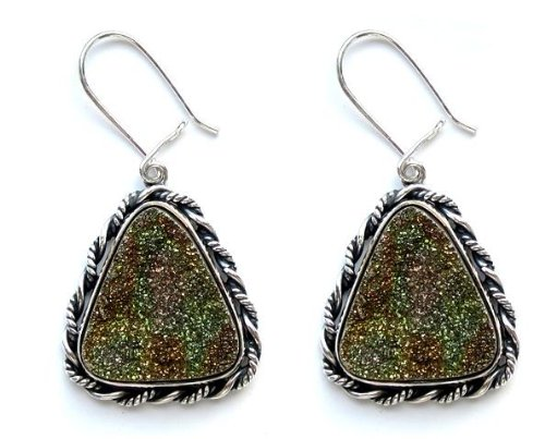 "Pyrite, ""Gold Nugget"" Triangle Earrings Set In .925 Sterling Silver On Sale"