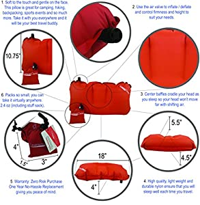 Lightweight 2.4oz. Inflatable, Compressible Travel Air Pillow for Backpacking, Camping, Motorcycle Trips and Lower Back By Instant Camp