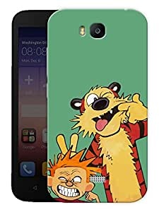 "Humor Gang Cute Boy And Tiger Printed Designer Mobile Back Cover For ""Huawei Honor Bee"" (3D, Matte, Premium Quality Snap On Case)"