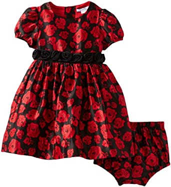 Hartstrings Baby-girls Infant Rose Pattern Charmeuese Dress and Diaper Cover Set, Rose Print, 18 Months