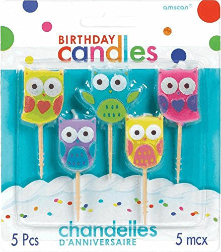 Amscan Owl Toothpick Birthday Candle Set, Multicolor - 1