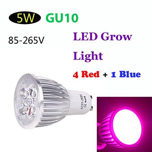 Kkmoon Gu10 5W Led Plant Grow Light Energy Saving 4 Red 1 Blue Hydroponic Lamp Bulb For Indoor Flower Plants Growth Vegetable Greenhouse 85-265V