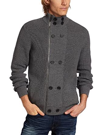 Kenneth Cole New York Men's Cardigan, Flannel Heather, Large