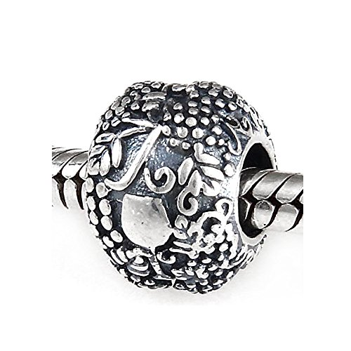Vino Grape Wine & Glass Authentic 925 Sterling Silver Charm Bead Fits Pandora Chamilia Biagi Troll Charms Europen Style Bracelets (Wine Grape Charms compare prices)