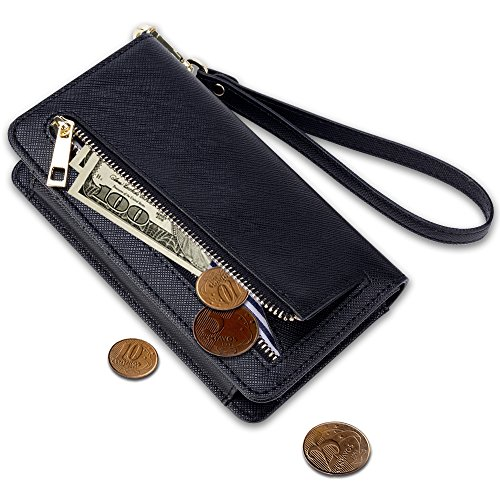 11. Smart Phone Wristlet,SHANSHUI Wallet Clutch Purse Case for Apple iPhone 7 SE, Samsung Galaxy s7 ed S8 GALAXY Note 6, Google Nexus, HTC M9 / M8, Sony Xperia, LG (L-Black)