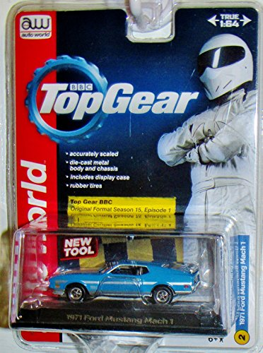 AUTO WORLD LICENSED PREMIUM BBC TOP GEAR Blue 1:64 SCALE 1971 FORD MUSTANG MACH 1 DIE-CAST - 1