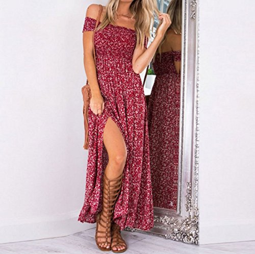 Women Dresses Evening for Long Summer and Split Floral Dresses From Koobea Red Large
