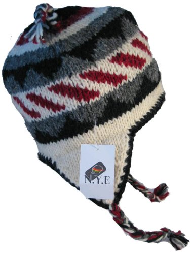 Wool Chullo Fleece Lined Ski Hat Toque with Ear Flaps Winter Knit Beanie Mountaineering Skull Cap