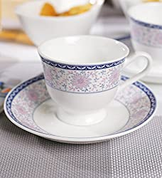 Swagger Microwave safe Bone China Tea Set / Blue, pink & white classy tea set / Floral tea set/ Cups & Saucer