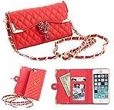iphone6 / 6 plus バッグ 風 デコ キルティング ケース / カバー アイフォン 手帳 型 【Willcast】 1.iphone6 レッド おまけホームボタン付き【最安値】