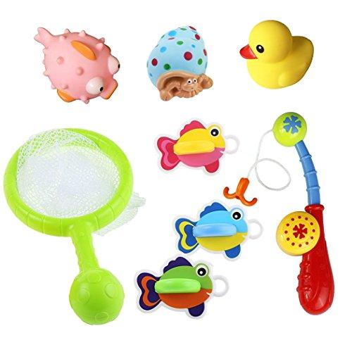 8 Pezzi Set Bagno Giocattolo Galleggiante con Giochi Rete da Pesca per i Bambini di 18 Mesi+ (Il Colore Può Variare)