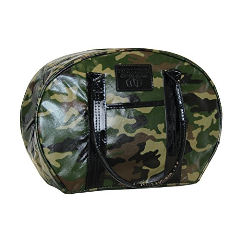 Camo Olive Black Brown, Insulated Bowler Style Purse, Zippered Top, Double Handles (Dr Brown Bottle Cooler Bag compare prices)