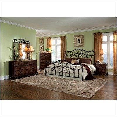 Bundle-86 Santa Cruz Metal Bedroom Set in Lexington Cherry Rutice Size: Queen