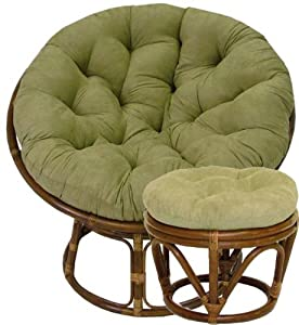 Rattan Papasan Chair And Footstool With Micro Suede Cushions S