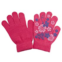 Big Girls Fun Winter Magic Gloves with Rubber Print (Up to 12 years) (Pink)