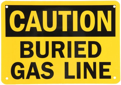 "Smartsign Aluminum Osha Safety Sign, Legend ""Caution: Buried Gas Line"", 7"" High X 10"" Wide, Black On Yellow"