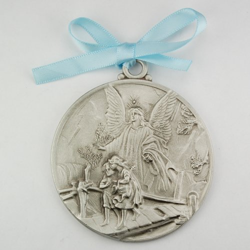 Guardian Angel Crib Medal Blue Ribbon Round 2 3/4 Great Gift great baptism christening gift keepsake gift