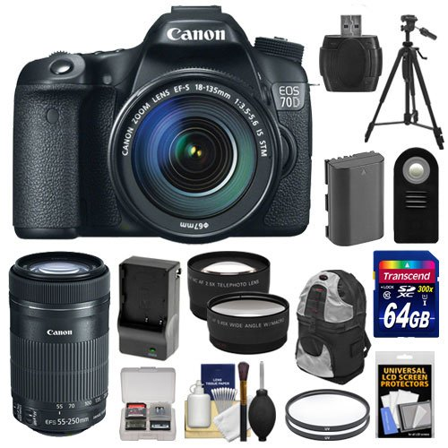 Canon EOS 70D Digital SLR Camera  &  EF-S 18-135mm IS with 55-250mm IS STM Lens + 64GB Card + Battery  &  Charger + Backpack Case + Tripod + Tele/Wide Lenses + Kit