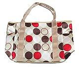 R-STYLE ママさん必見 収納力抜群 軽量多機能 おしゃれマザーズバッグ 同色保冷ミニバッグ付きセット (水玉)