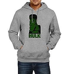 Fanideaz Men's Cotton Green Hulk Poster Hoodies For Men (Premium Sweatshirt)_Grey Melange_L
