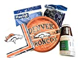 NFL Bronco Football Party Supplies - Plates, Napkins, Silverware, Football Design Cups & Tablecover at Amazon.com