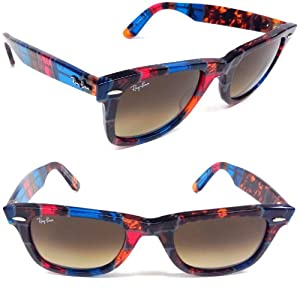 Ray Ban RB2140 Original Wayfarer Sunglasses,Havana Blue Orange Brown Red frame/Brown Gradient lens