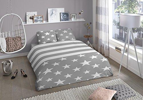 Aminata-elegante-Jugend-Bettwsche-135x200-cm-Sterne-Streifen-Grau-wei-Teenager-Bettwsche-Baumwolle