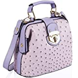 Lilac Ostrich Doctors Faux Leather Bag JC70498