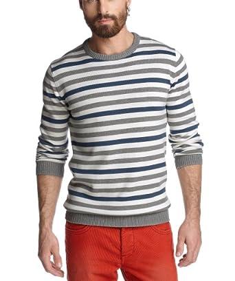 ESPRIT Herren Pullover Regular Fit, gestreift K30306, Gr. 54 (XL), Weiß (salt 110)