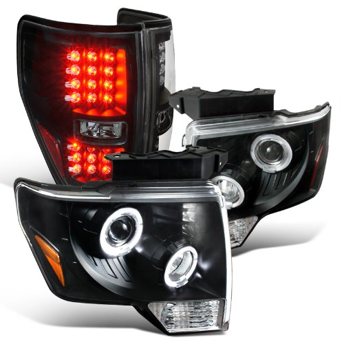 Ford F150 Halo Projector Black Headlights+LED Brake Tail Lamp (2011 Ford F150 Halo Headlights compare prices)