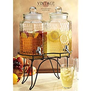 Hammered Glass Set Of Two Jugs Drink Dispenser