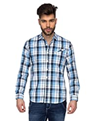 Blumerq Men White Blue Casual Checks Shirt
