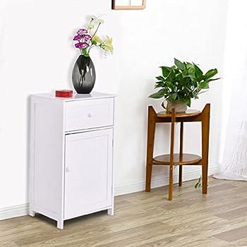 TANGKULA Floor Storage Cabinet Bathroom Living Room Organizer Shelf White