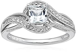 14k White Gold Aquamarine and Diamond Engagement Ring (1/4 cttw, H-I Color, I2-I3 Clarity), Size 7 from The Aaron Group - HK DI