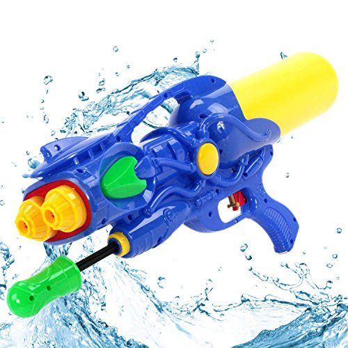 KiiSports® Water Gun - Water Soaker Blaster Hand Pumped Water Cannon - Double Nozzle - Long Range Shooting + KiiSports® Warranty (Blue) (Water Cannon Helicopter compare prices)