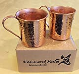 Copper Moscow Mule Mugs 16oz hammered with Ribbon Handle (Set of 2) 16-RH-2PK