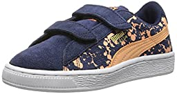 PUMA Suede Speckle V Kids Classic Sneaker (Infant/Toddler/Little Kid/Big Kid) , Peacoat/Peach Cobbler, 2.5 M US Little Kid
