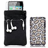 APPLE IPOD TOUCH 4TH GEN 4 PC LUXURY GIFT ACCESSORY PACK - LEOPARD SPOTS DIAMANTE CASE / COVER / SHELL / SHIELD, SCREEN PROTECTOR, HEADSET, POUCH CASE PART OF THE QUBITS ACCESSORIES RANGEby Qubits