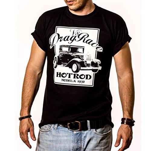 DRAG RACE - Maglietta Rockabilly Hot Rod T-shirt Uomo Nera S