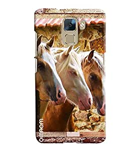 Omnam Three Horses Pattern Printed Designer Back Cover Case For Huawei Honor 7