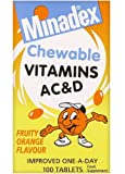 Minadex Chewable Vitamins AC & D Fruity Orange Flavour 100 Tablets