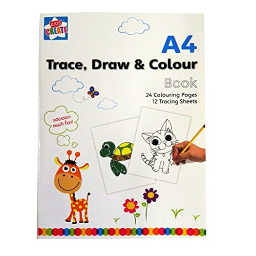 A4 Trace, Draw and Colour Book - Colouring and Tracing Sheets - by Kids Create (Tracing Sheets compare prices)