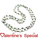 "14k Yellow Gold 10-11mm White Coin Freshwater Pearl with 24pcs 3mm Yellow Gold Beads and 4mm Round Green Magnesite Endless Necklace 48"" Length."