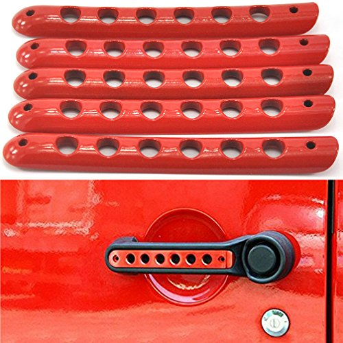 Opall Front Door & Back Door Aluminum Grab Handle Cover For 2007 - 2016 Jeep Wrangler JK & Unlimited 4 Door 5pcs/set (Red) (Red Jeep compare prices)